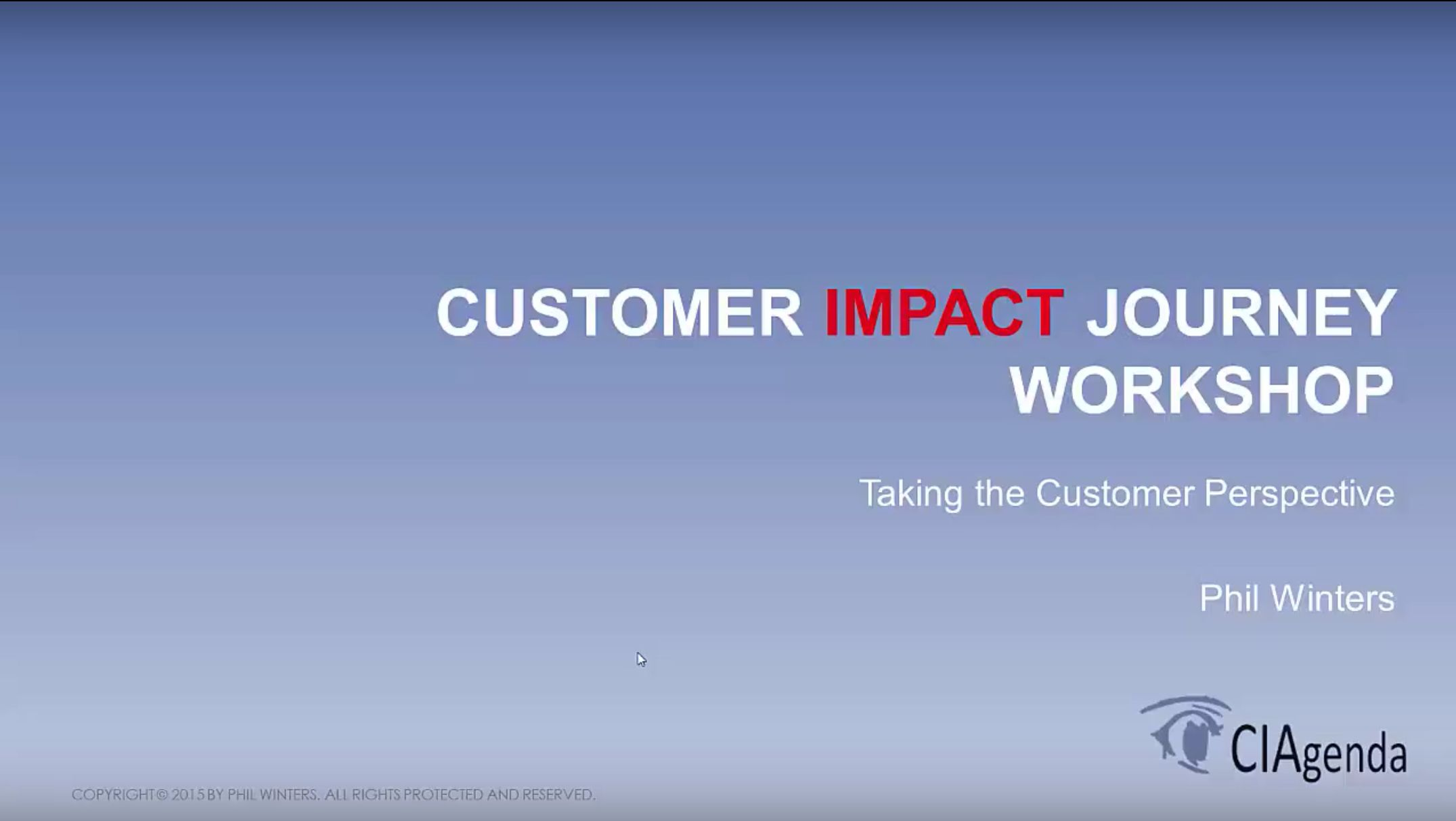 A Customer Journey Workshop 25/11